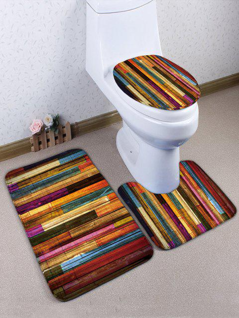 Wooden Grain Printed Flannel Toilet Rug Set - COLORFUL