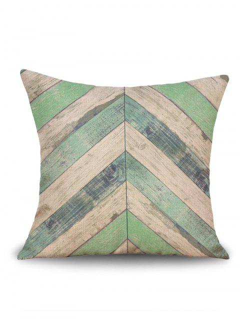 Geometric Wood Grain Print Linen Sofa Pillowcase - GREEN W18 INCH * L18 INCH