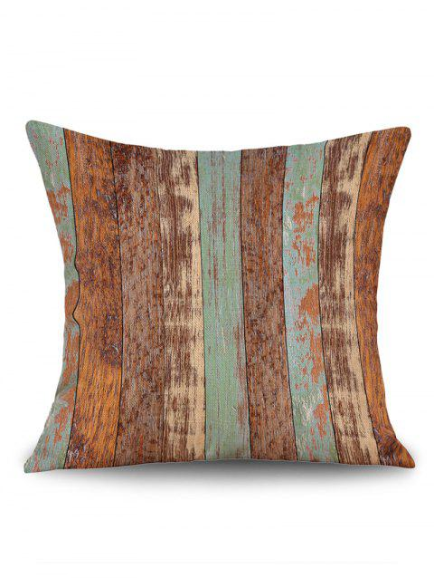 Retro Wood Grain Print Linen Sofa Pillowcase - BROWN W18 INCH * L18 INCH