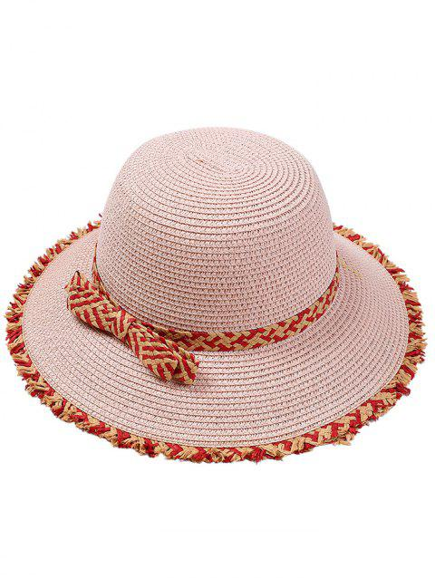 Retro Bowknot Embellished Straw Hat - PINK