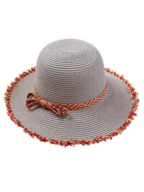 Retro Bowknot Embellished Straw Hat - GRAY