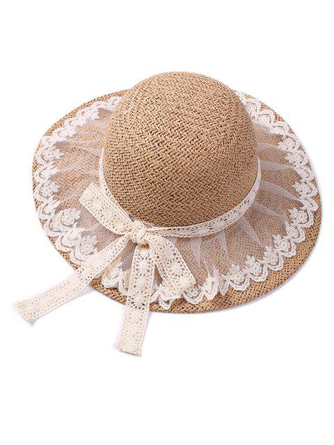 Lace Embellished Bowknot Straw Cap - LIGHT COFFEE