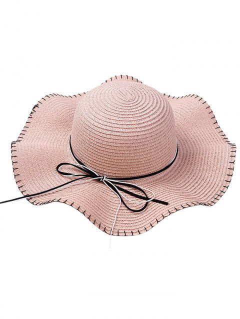 Bowknot Embellished Lace Up Straw Hat - PINK