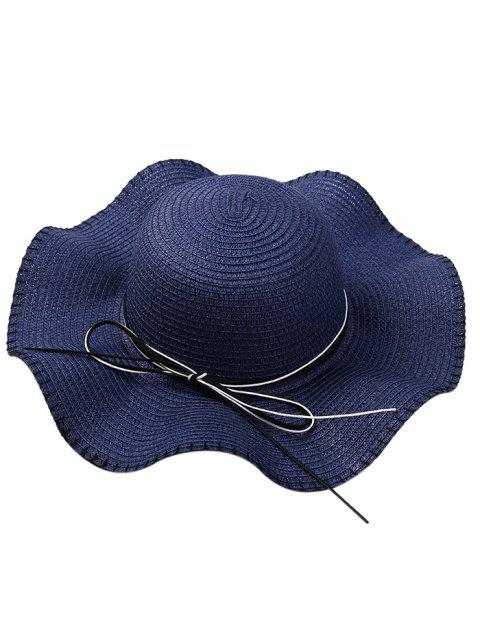 Bowknot Embellished Lace Up Straw Hat - BLUE