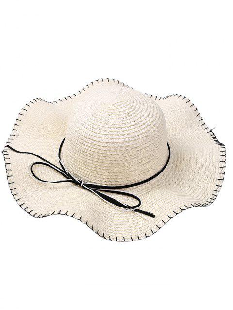 Bowknot Embellished Lace Up Straw Hat - WHITE