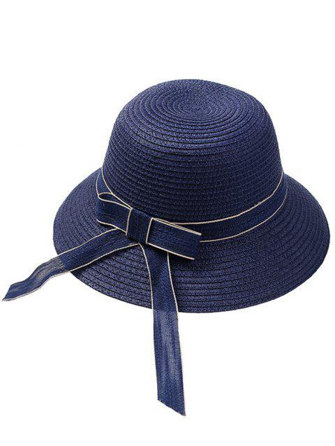 Wide Straw Hat with Bowknot - BLUE