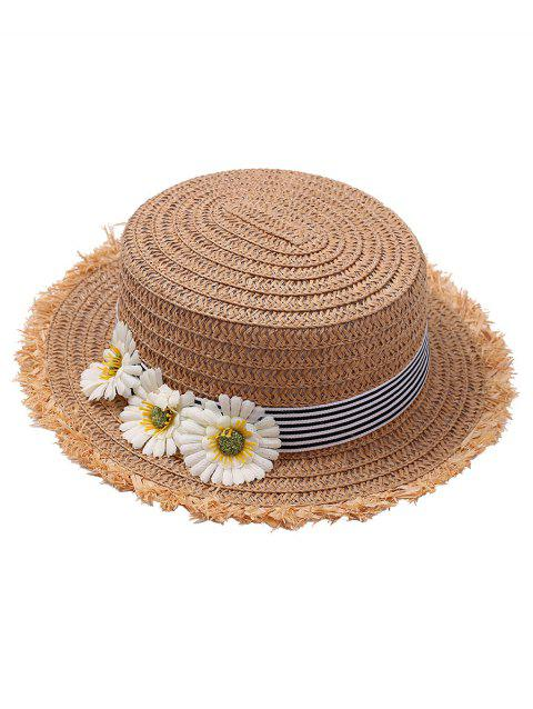 Flower Striped Straw Hat - LIGHT COFFEE