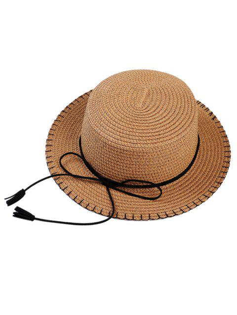 Vintage Bowknot Embellished Tassel Straw Hat - CAPPUCCINO
