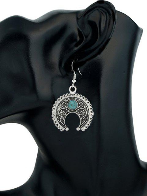 Turquoise Decorated Crescent Moon Drop Earrings - SILVER