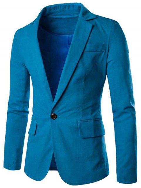 One Button Slim Fit Blazer - MEDIUM BLUE 2XL