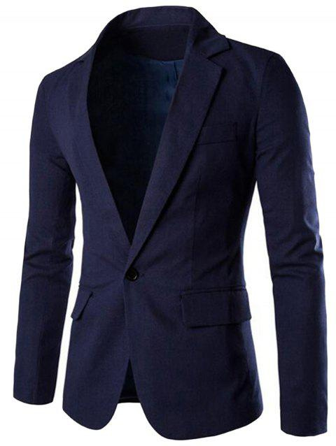 Edging One Button Blazer - CADETBLUE 2XL