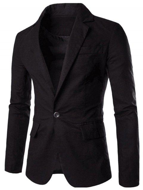 One Button Slim Fit Blazer - BLACK XL