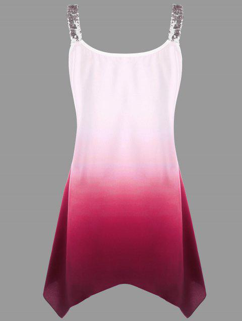 2a62a1629f 17% OFF] 2019 Plus Size Sequins Ombre V-neck Tank Top In WINE RED ...