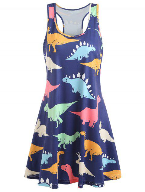 Dinosaur Swing Tank Dress - multicolor S