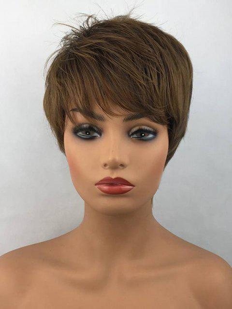 Short Inclined Bang Layered Straight Heat Resistant Synthetic Fiber Wig - COLORMIX