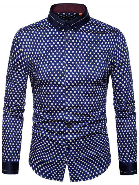 Geometric Print Button Down Shirt - BLUE 41