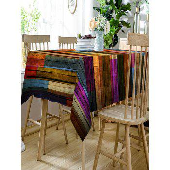 Colorful Wood Grain Print Waterproof Dining Table Cloth - COLORFUL W60 INCH * L84 INCH