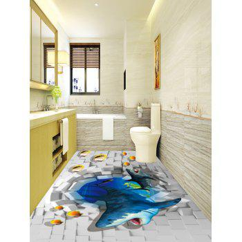 3D Break Out Wall Sharp Print Antislip Floor Stickers - COLORMIX 6PCS:17*63 INCH