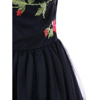 Embroidery Fit and Flare Party Dress - BLACK M
