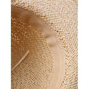 Lace Embellished Bowknot Straw Cap - OFF WHITE