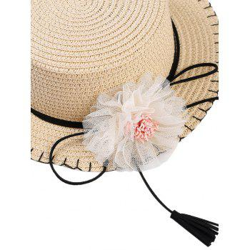 Bowknot Tassel Floral Straw Hat - OFF WHITE