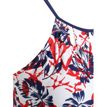 Plus Size Leaf Printed Swim Top - RED 1X