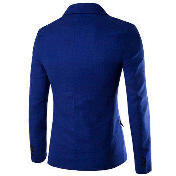 Edging One Button Blazer - ROYAL 2XL