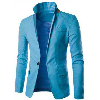One Button Slim Fit Blazer - LIGHT BLUE 3XL