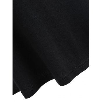 Mesh Panel Open Shoulder T-shirt - BLACK S