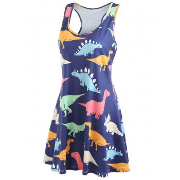 Dinosaur Swing Tank Dress - multicolor XL