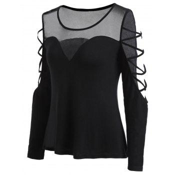 Mesh Panel Open Shoulder T-shirt - BLACK XL