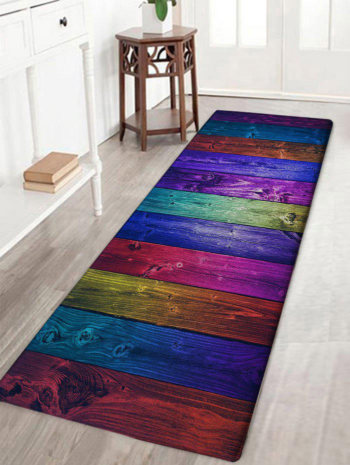 Colorful Wood Grain Background Print Antislip Floor Rug