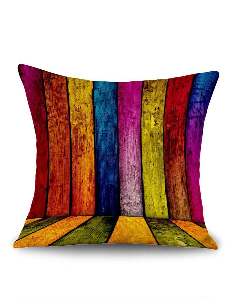 Colorful Wood Board Print Linen Sofa Pillowcase colorful wood grain print linen sofa pillowcase