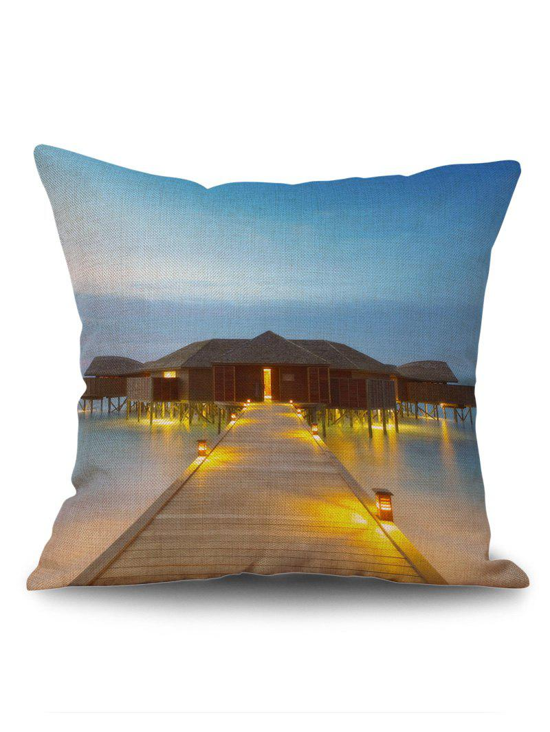 Wood House Bridge Sea Print Throw Pillow Case - COLORMIX W18 INCH * L18 INCH