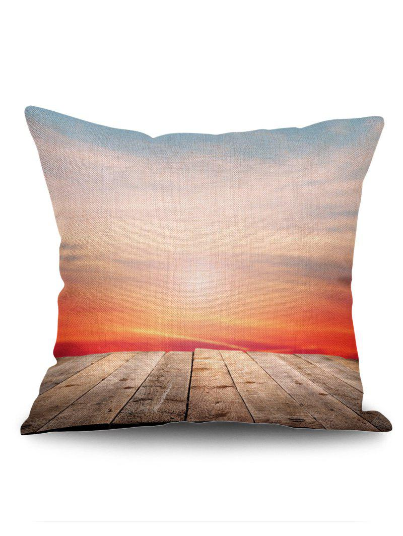 Wood Board Sunset Print Throw Pillow Case - RED W18 INCH * L18 INCH