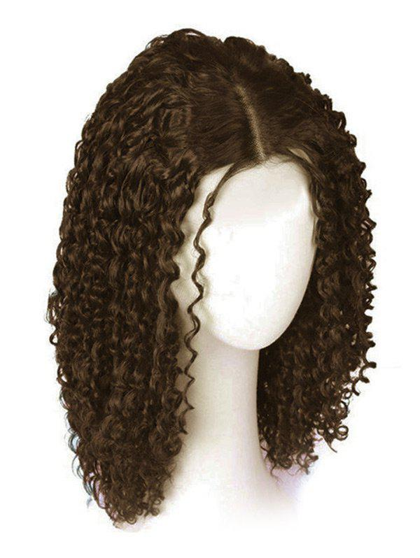 Medium Synthetic Center Parting Curly Wig, Brown