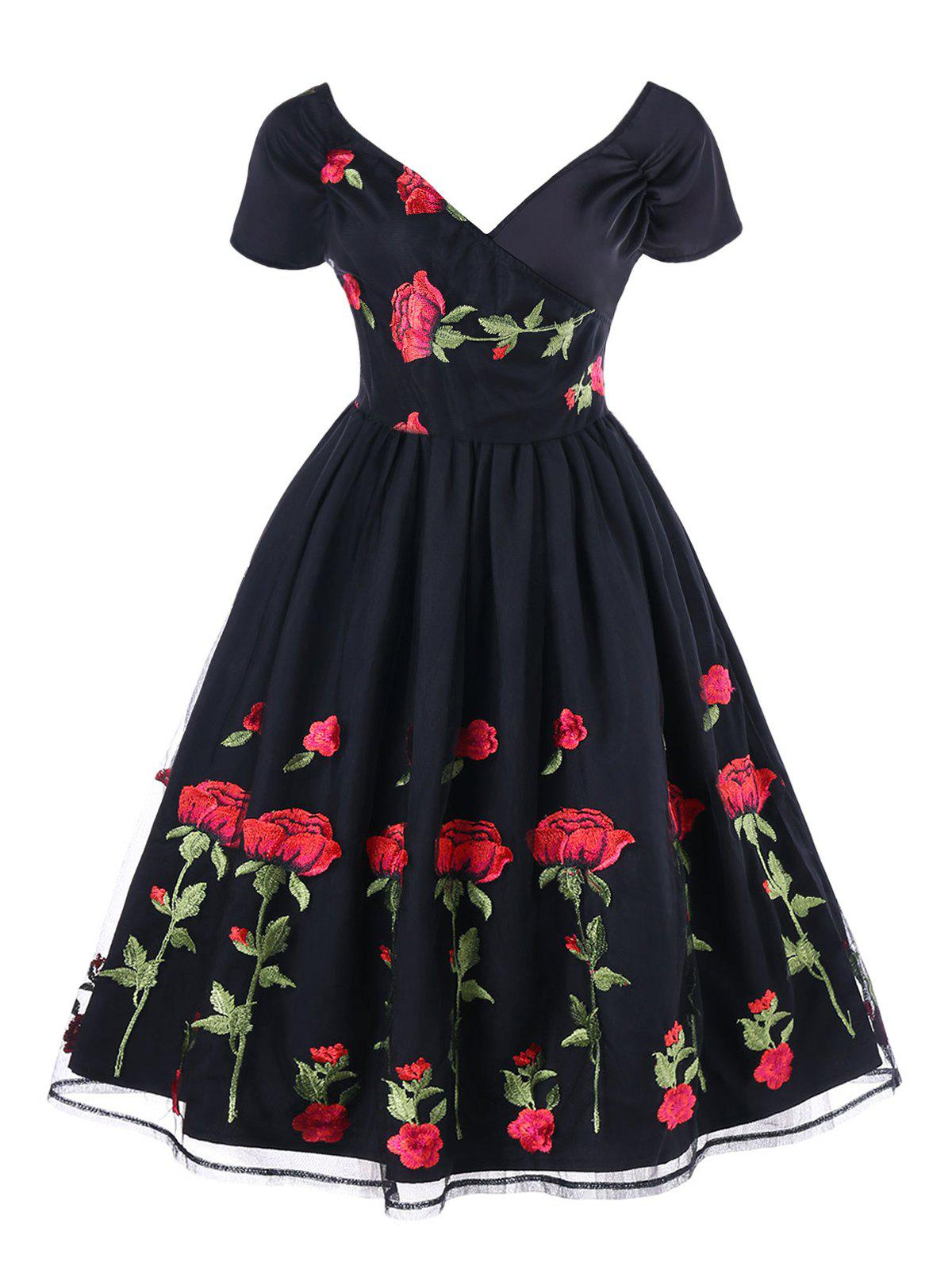 Embroidery Fit and Flare Party Dress - BLACK L