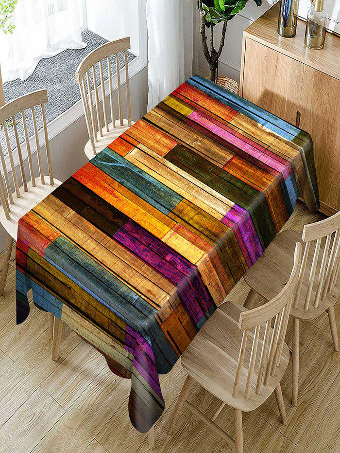 Colorful Wood Grain Print Waterproof Dining Table Cloth - COLORFUL W54 INCH * L72 INCH