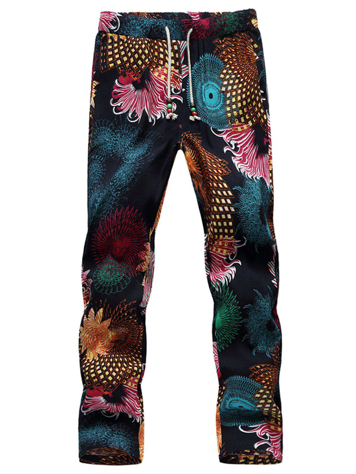Drawstring Cotton Linen Printed Ninth Pants arte lamp потолочная люстра arte lamp alessandra a5004pl 3wg