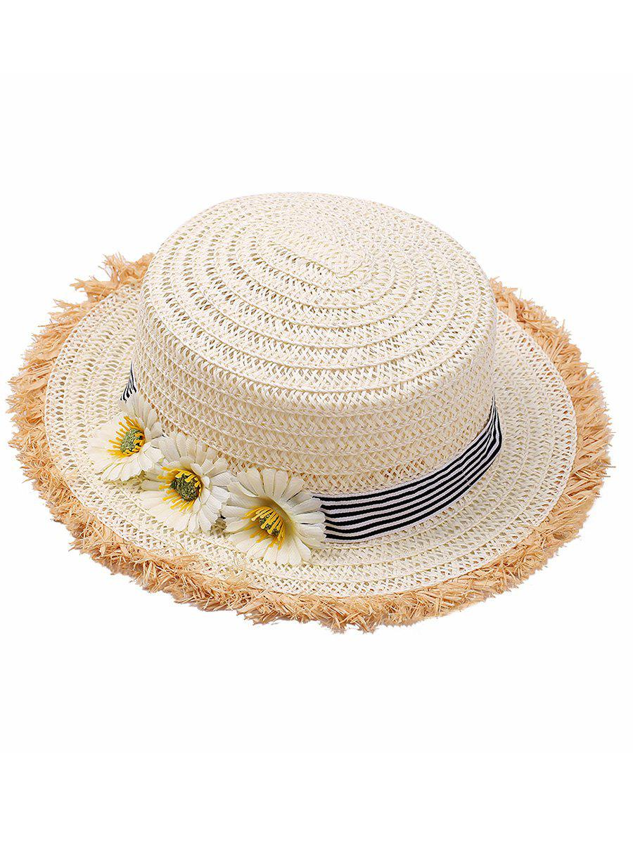 Flower Striped Straw Hat - OFF WHITE