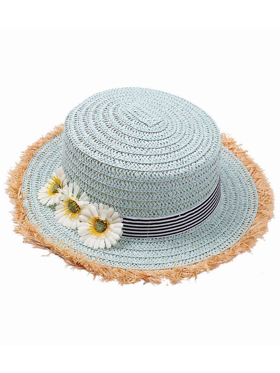 Flower Striped Straw Hat - LIGHT BLUE