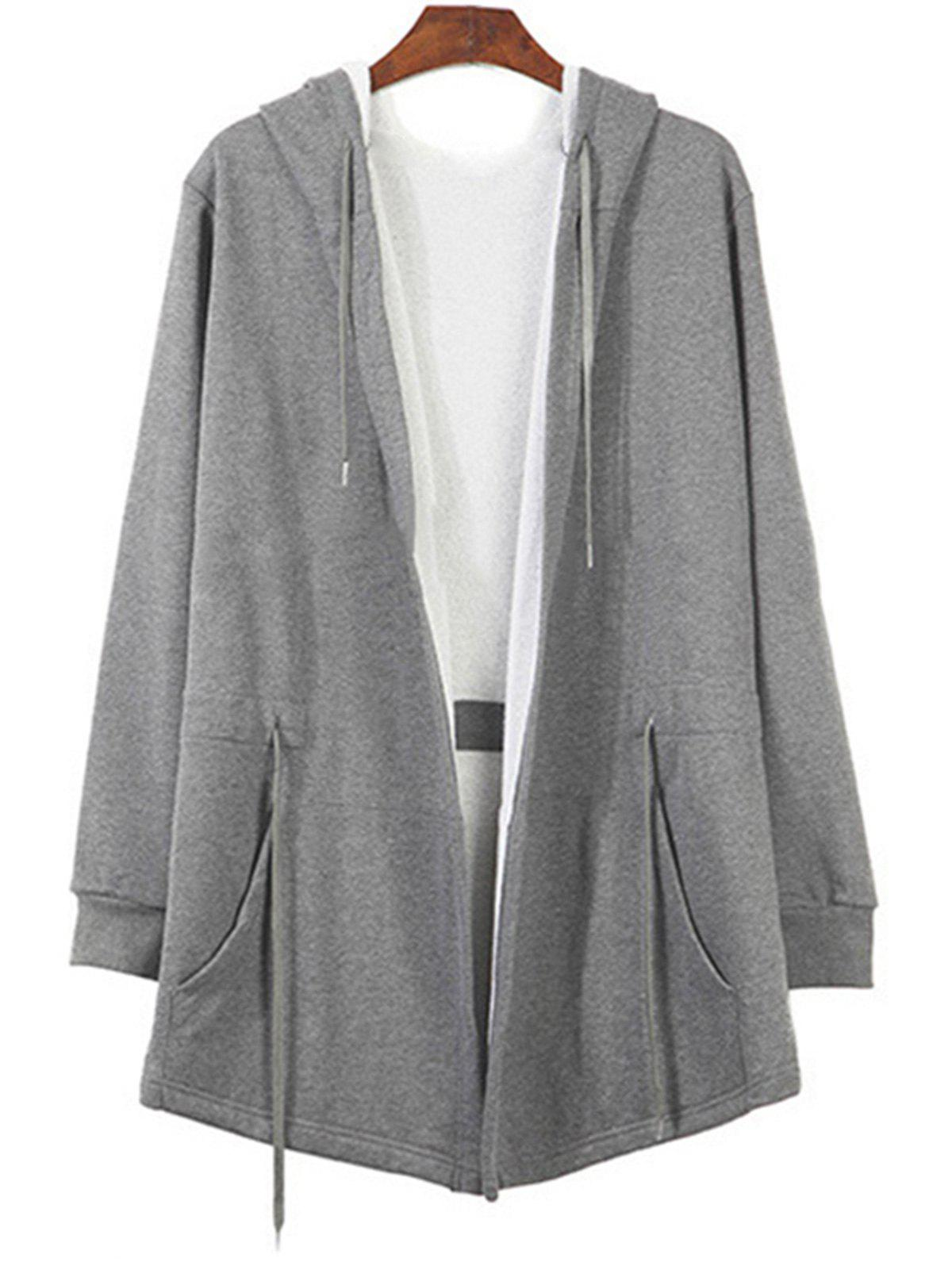 Drawstring Open Cape Long Hoodie - GRAY XL