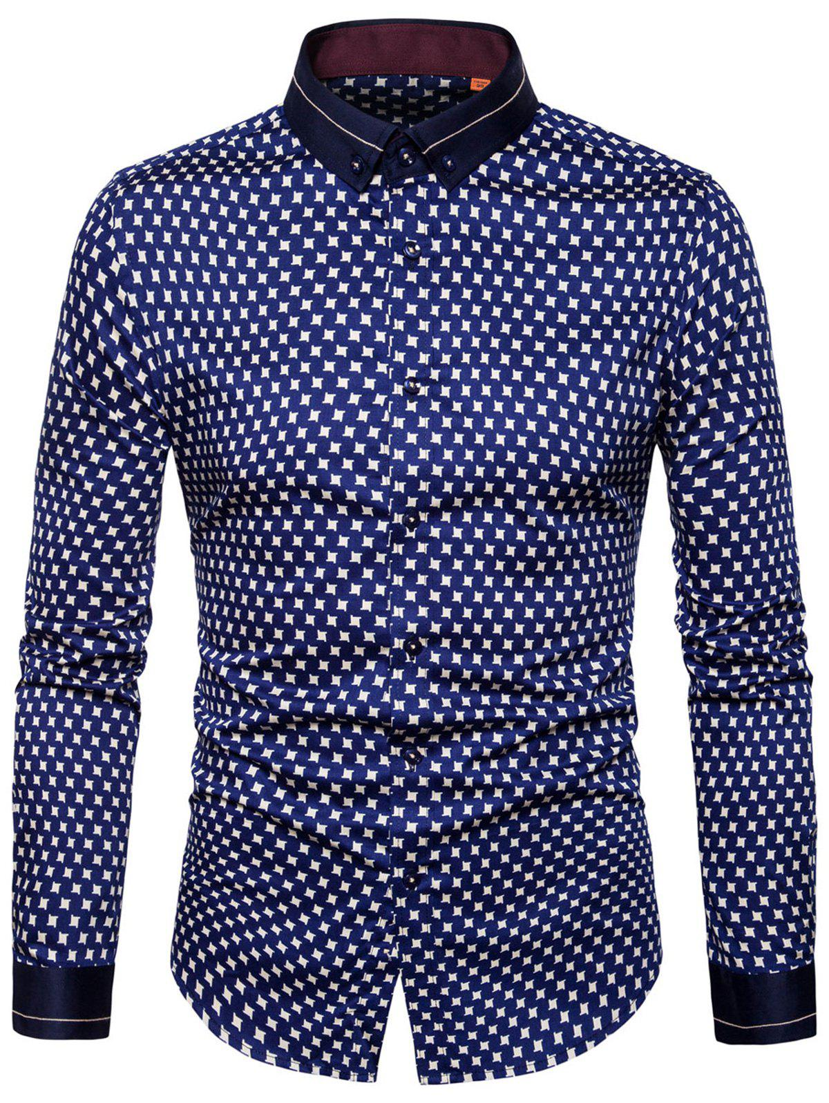Geometric Print Button Down Shirt - BLUE 38