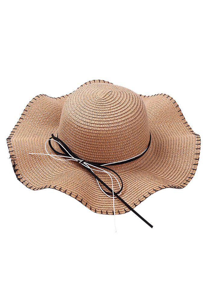 Bowknot Embellished Lace Up Straw Hat - CAPPUCCINO