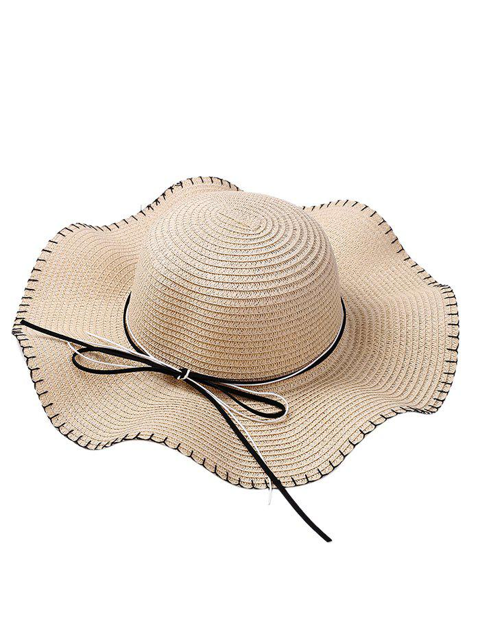 Bowknot Embellished Lace Up Straw Hat - OFF WHITE