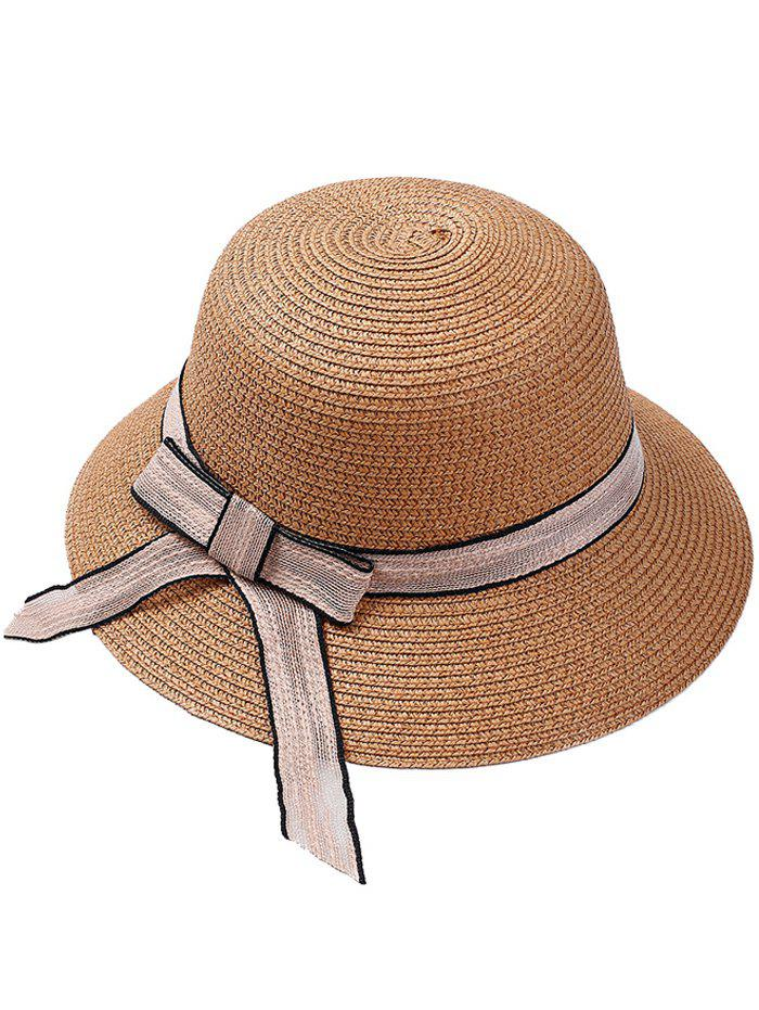 Wide Straw Hat with Bowknot - CAPPUCCINO