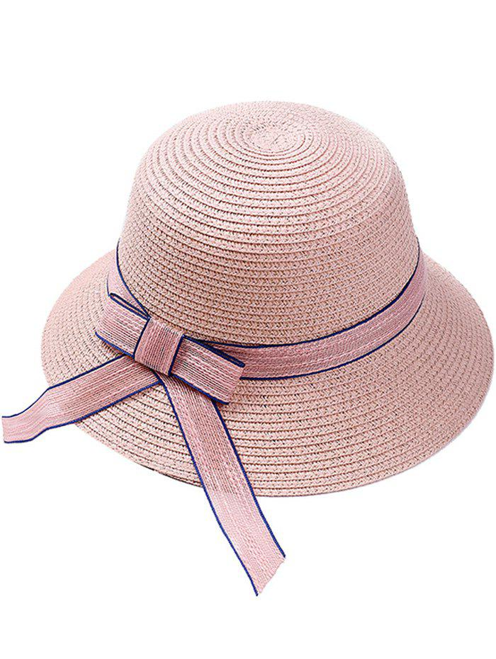Wide Straw Hat with Bowknot - PINK