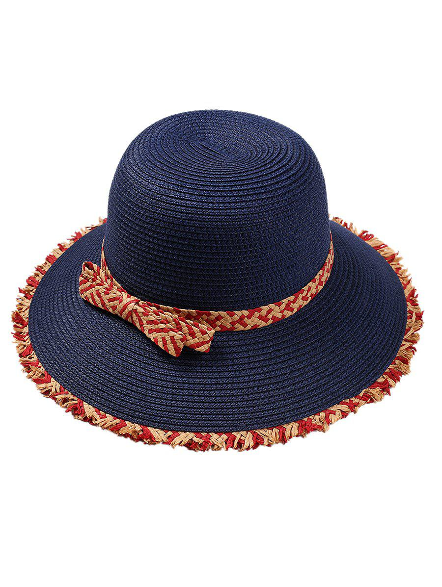 Retro Bowknot Embellished Straw Hat - BLUE