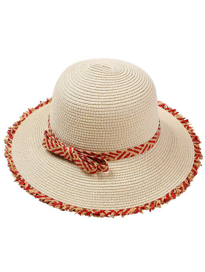 Retro Bowknot Embellished Straw Hat - OFF WHITE
