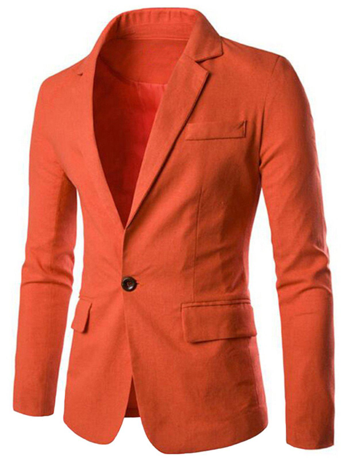 One Button Slim Fit Blazer - JACINTH 2XL